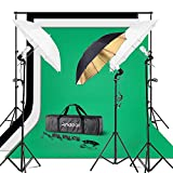 Andoer Photography Umbrella Continuous Lighting Kit - 6.6ft x 10ft Background Support System 3pcs Muslin Backdrops Screen and 3pcs Umbrellas for Photo Portrait Studio Shoot