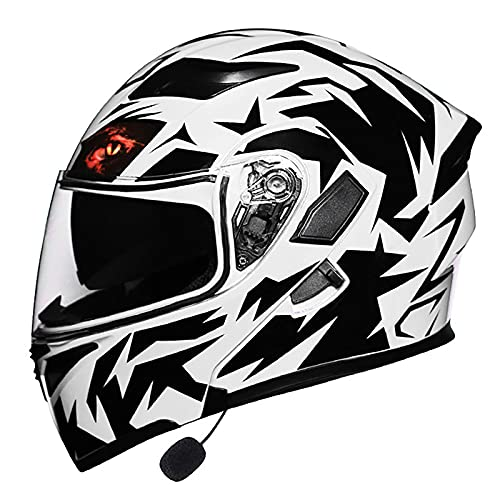 XYXZ Cascos Integrales para Motocicleta Casco Bluetooth para Motocicleta, Casco Modular Abatible hacia Arriba con Visor Dual Antivaho, Cascos Integrales De Motocross para Adultos, Micrófono