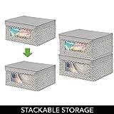 mDesign 4er-Set Stoffbox – Aufbewahrungsbox aus Stoff mit Zick-Zack-Muster – ideal zur Ablage von Kleidung, Decken, Accessoires und als Schrankbox – Aufbewahrungskiste mit praktischem Deckel – taupe - 6