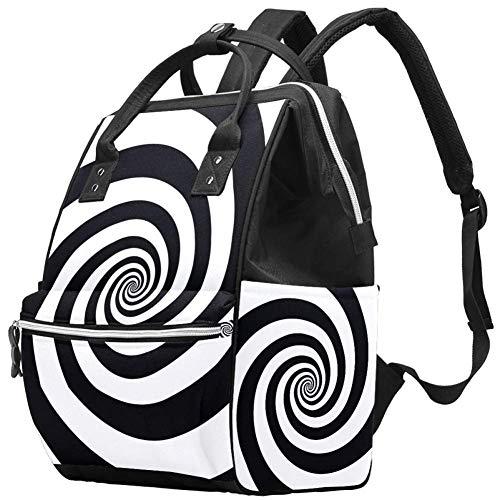 Sac à langer spirale noir blanc sac à dos, sac à dos de voyage multifonction sac à langer sac de maternité grande capacité, imperméable et élégant