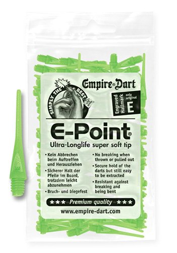 Empire Dart Softdartspitzen, E-Point, 2BA, lang, neongrün, 100 Stück, 22220