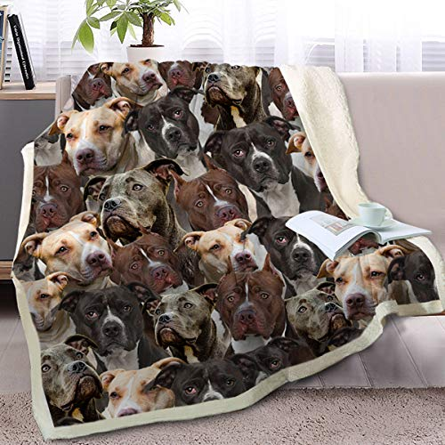 BlessLiving Fuzzy Dog Blanket for Kids Adults Cute Puppy Fleece Blanket Reversible Animal Pattern Sherpa Throw (Pit Bull,Twin, 60 x 80 Inches)
