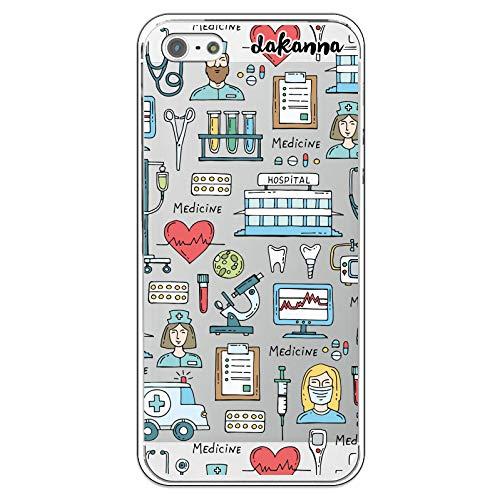 dakanna Custodia per [iPhone 5-5S - SE] Ospedale Cuore Ambulanza Medici Simboli, Cover in Gel di Silicone TPU Morbido di Alta qualità con [Sfondo Trasparente]