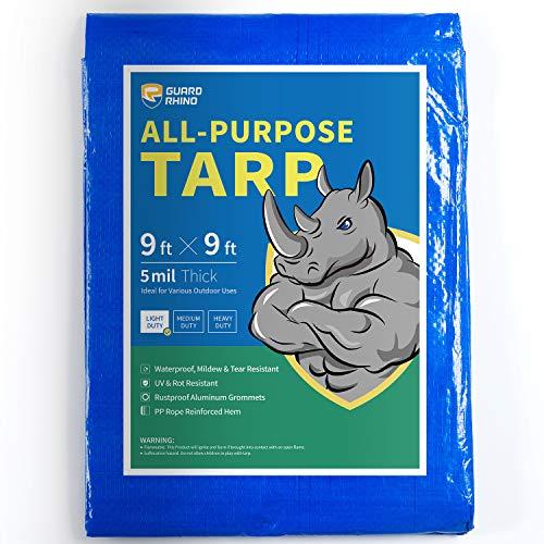 Guard Rhino Tarp 9x9 Feet Blue Multi Purpose Waterproof Poly Tarp Cover 5mil