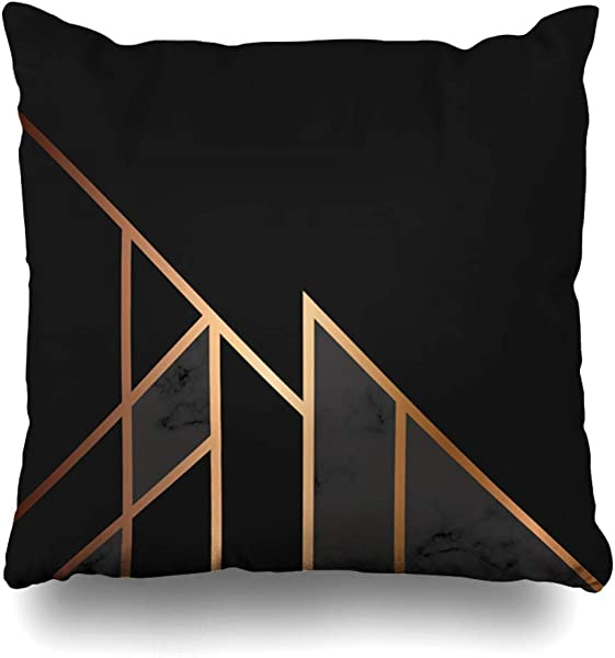 PAUSEBOLL White Gray Block Marble Golden Geometric Lines Black Abstract Marbling Modern Luxurious Branding Hide Zippered Design Throw Pillowcase Two Sides Print Pillowslip