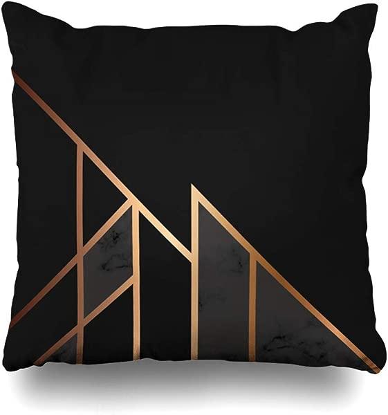 PAUSEBOLL 白色灰色大理石金色几何线条黑色抽象大理石纹现代豪华品牌隐藏拉链设计掷枕套两面打印枕套