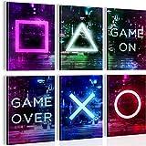 Elegante juego con imágenes a juego – Elegante y sin marco – Gamer – Oficina habitación juvenil – Negro – N021364a