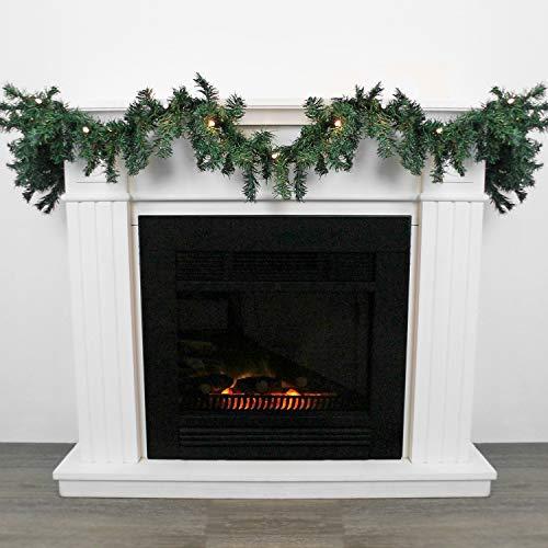 Wohaga Weihnachtsgirlande Tannengirlande Lichterkette 270cm 180 Spitzen 20 Lampen 16 Kugeln, Farbe:ohne Kugeln