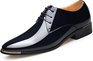 Oxford Newly Men's Pointed Dress Shoes Brown Lace-up Dress Shoes EU Size 38-45 Black Soft Man Oxford Shoes Comfortable Soft Lining Derby Saddle Shoes (Color : Blue, Size : 39)