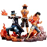 ZHTY Anime Cartoon Figure Toy Model, 3 unids/Set Anime One Piece Figura Portgas D Ace Figurine Sabo Figur Monkey D Luffy Figuras de acción PVC Colección Modelo Toys14-17cm Song