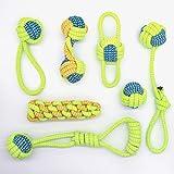 Ruberg 7pcs Hunde Spielzeug Set Seil Hundeball Geruchlos Zerrspielzeug Hunde Seilspielzeug Baumwolle Kauspielzeug Welpenspielzeug Hundespielzeug zur Zahnreinigung - für kleine mittlere Hunde Grün