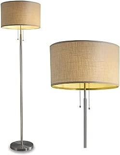 DEEPLITE Tall Standing Light - 2 Bulb Socket Floor Light, Modern Floor Lamp for Living Room, Bedroom, Office, Pole Lamp Standing Beside Couch or Bed, Drum Shade Brushed Nickel Body