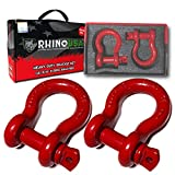 """Rhino USA D Ring Shackle (2 Pack) 41,850lb Break Strength – 3/4"""" Shackle with 7/8 Pin for use with Tow..."""