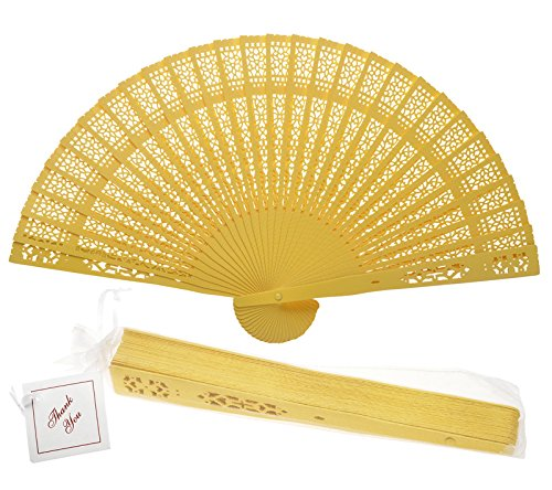 "Quasimoon PaperLanternStore.com 8"" Yellow Chinese Folding Wood Panel Hand Fan w/White Organza Bag for Weddings"