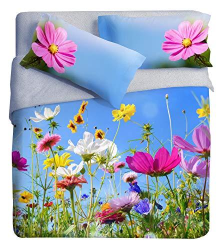 Ipersan Campo Parure Copripiumino Fotografico Piazzato Fine Art, Cotone Organico, Multicolore, Matrimoniale