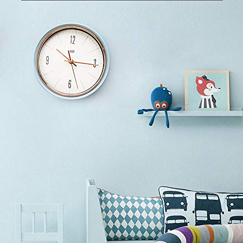 HITO Silent Non Ticking Wall Clock Glass Front Cover Accurate Sweep Movement 9 inch Decorative for Kitchen, Living Room, Bedroom, Office, Classroom (Red)