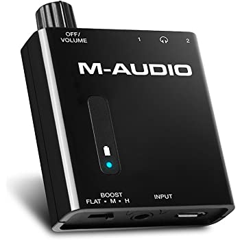 M-Audio Bass Traveler | Ultra-Portable Battery Powered Dual-Output Headphone Amplifier With 2-Level Boost