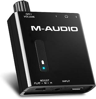 M-Audio Bass Traveler - Amplificador portátil de auriculares alimentado por batería cos 2 salidas y potenciador de 2 niveles