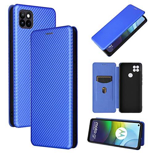 TOPOFU Cover per Motorola Moto G9 Power Custodia, Custodia in Robusto Pannello PC in Fibra di Carbonio + Antiurto TPU + Cavalletto Libero, Chiusura Magnetica Cover-Blu