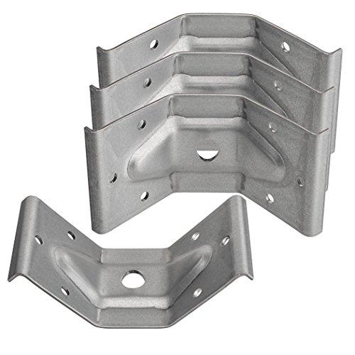 4 x SO-TECH® Tischbeinbeschlag aus verzinktem Stahl 60 x 100 mm für stabile Konstruktionen Winkelbeschlag Zargenverbinder Winkelverbinder für Tische und Bänke