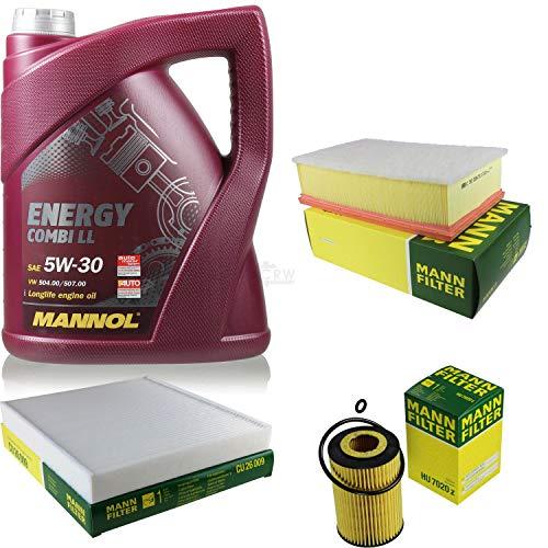 Preisvergleich Produktbild Filter Set Inspektionspaket 5 Liter MANNOL Motoröl Energy Combi LL 5W-30 API SN / CF MANN-FILTER Luftfilter Innenraumfilter Ölfilter
