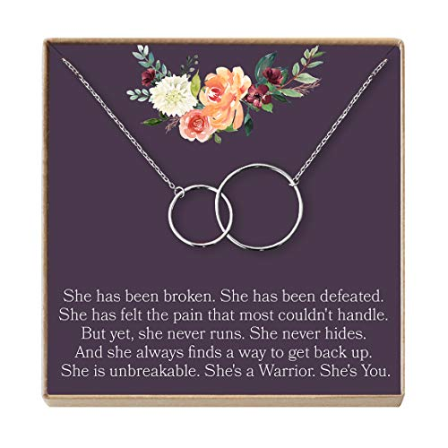 Thinking of You Gift Necklace: Condolence, Inspirational Quote, Cancer, Illness, Long Distance Friendship, 2 Interlocking Circles (silver-plated-brass, NA)