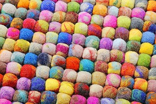 Filzkugelteppich 100% Schurwolle; handgefilzt | beidseitig verwendbar | Größe: 34 x 34 cm; Farbe: Bunt | THEKO die markenteppiche - Felty
