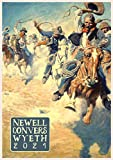 Wall Calendar 2021 [12 pages 8'x11'] Wild West by Newell Wyeth Vintage Illustration Cowboys Pioneers Indians Western