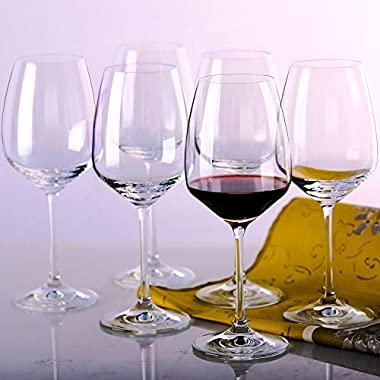 MKSA Crystal Goblets White Wine Glasses, 11.5-Ounce, Set of 6