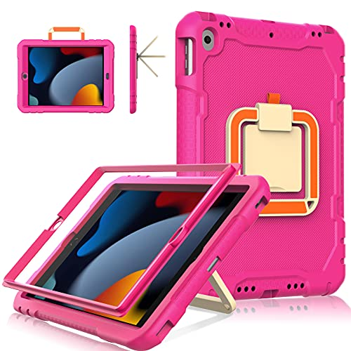 LTROP New iPad 9th Generation Case, iPad 8th/7th Generation Case, iPad 10.2 Case for Kids, Built in Screen Protector, Shockproof [ 360 Rotatable Stand ] Case for iPad 10.2-inch 2021/2020/2019 - Rose