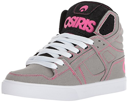Osiris Women's Clone Skate Shoe, Grey/White/Pink, 11 M US