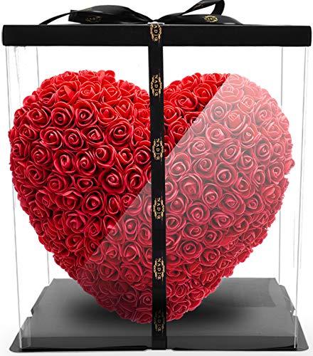 NADIR Rosenherz Blumenherz rot / inklusive Geschenkbox / Rose bear with Giftbox / Valentinstag Muttertag Geburtstag Jahrestag Jubiläen ROSEBEAR Herz aus ewigen Infinity Rosen