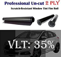 Mkbrother 2PLY 1.8 mil 35% VLT 12 in x 100 Ft Feet Uncut Roll Window Tint Film Windshield Sun Visor Strip