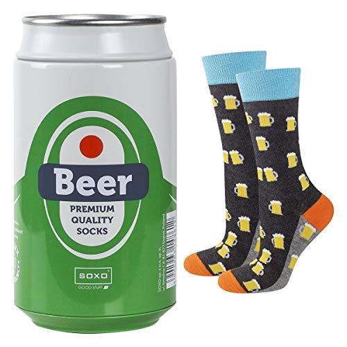soxo lustige Herren Socken Bier Geschenkdose | Größe 40-45 | Bunte Herrensocken aus Baumwolle mit witzigen Motiven | Besondere, mehrfarbig gemusterte Lange Socken für Männer