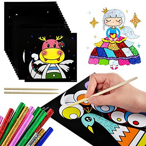EQLEF Scratch Art para Niños, Magic Transfer Stick Paper DIY Art Craft Pintura Temática de Hadas Scratchboard con Herramientas 15 Hojas