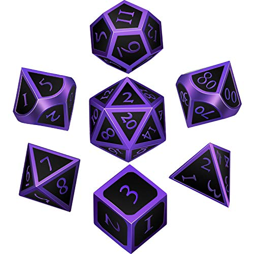 7 Pieces Metal Dices Set DND Game Polyhedral Solid Metal D&D Dice Set with Storage Bag and Zinc Alloy with Enamel for Role Playing Game Dungeons and Dragons, Math Teaching (Purple Edge Black)