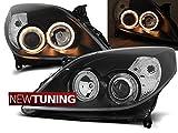 Faros delanteros para Opel Vectra C 09.05-08 Angel Eyes, color negro