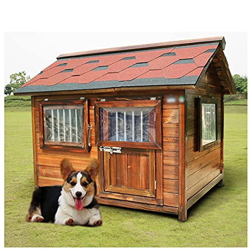 TYX Casetas Perros Exteriores Pequeñas Impermeables, Casa Perro Madera Casetas Da Perros Refugio Perros, Casetas Perros Gatos Jaula,89×69×92cm