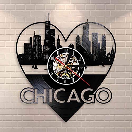 YINU Chicago City Architecture Wall Art Reloj de Pared Decoración para el hogar Horizonte de Chicago Paisaje Urbano Disco de Vinilo Reloj de Pared Recuerdo de Viaje de EE. UU.