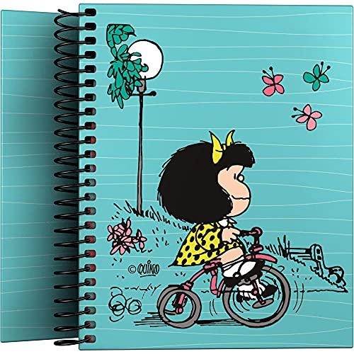 Mafalda 16522639. Cuaderno Pequeño A6, Espiral, Tapa Dura Cartón Forrado, Cuadricula 5x5, Certificado FSC, Colección Mafalda, Bici