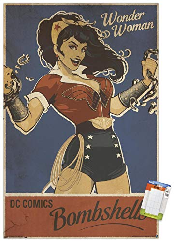 "Trends International 24X36 DC Comics - Wonder Woman - Bombshell Wall Poster, 24"" x 36"", Premium Poster & Mount Bundle"