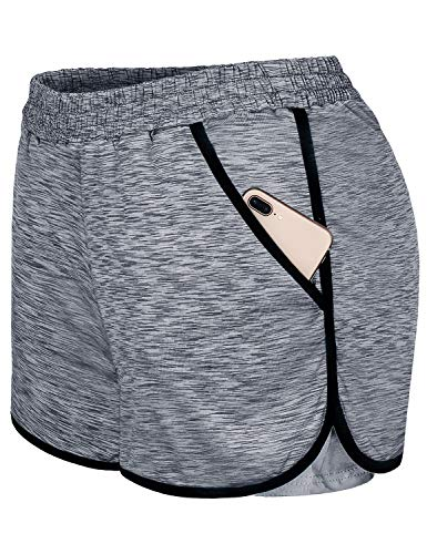 Blevonh Womens Cozy Banded Waist Running Fitness Workout Shorts with Pockets S-XXXL (Gery, XXX-Large) Grey