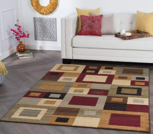 Jamie Contemporary Abstract Multi-Color Rectangle Area Rug, 7.6' x 10'
