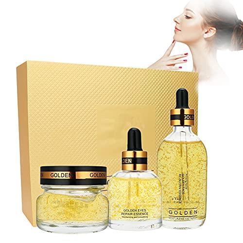 Suero de esencia, suero de estiramiento facial, 180 ml, lámina de oro de 24 k, juego de gel hidratante reparador de ojos para mejorar la textura de la piel para mujeres