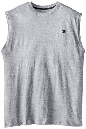 Champion Men's Big-Tall Jersey Muscle T-Shirt, Grey Heather, 2X