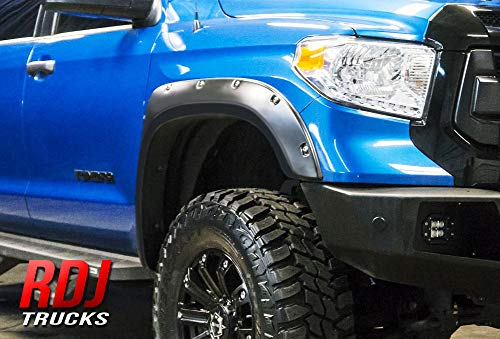 RDJ Trucks PRO-Offroad Bolt-On Style Fender Flares - Fits Toyota Tundra 2014-2020 - Set of 4 - Smooth Paintable OE Black Finish
