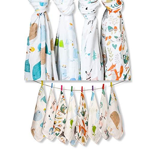 Mantas de muselina para bebé y paños de bebé para niño y niña, juego de 12 piezas, paquete de 4 mantas de muselina de bambú para bebé de 100 x 100 cm y 8 paños suaves de bebé de 22 x 22 cm