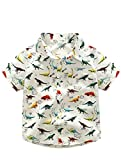 Abolai Boys' Short Sleeve One Pocket Dinosaur Pattern Woven Shirt White 100