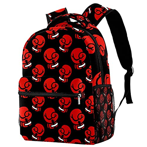 Schulrucksack Rote Boxhandschuhe Rucksack Damen Schulrucksack Mädchen Teenager Tagesrucksack wasserdicht Backpack 29.4x20x40cm