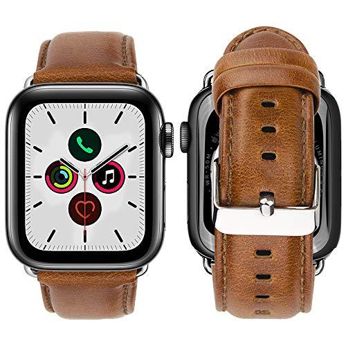 iBazal leren armband vervanging voor iWatch Series 5 Series 4 armband 44 mm leer horlogeband bands armbanden horlogeband echt lederen band watchband heren horloge bracelets, Nur 44mm, Leer -exclusief bruin/zilver
